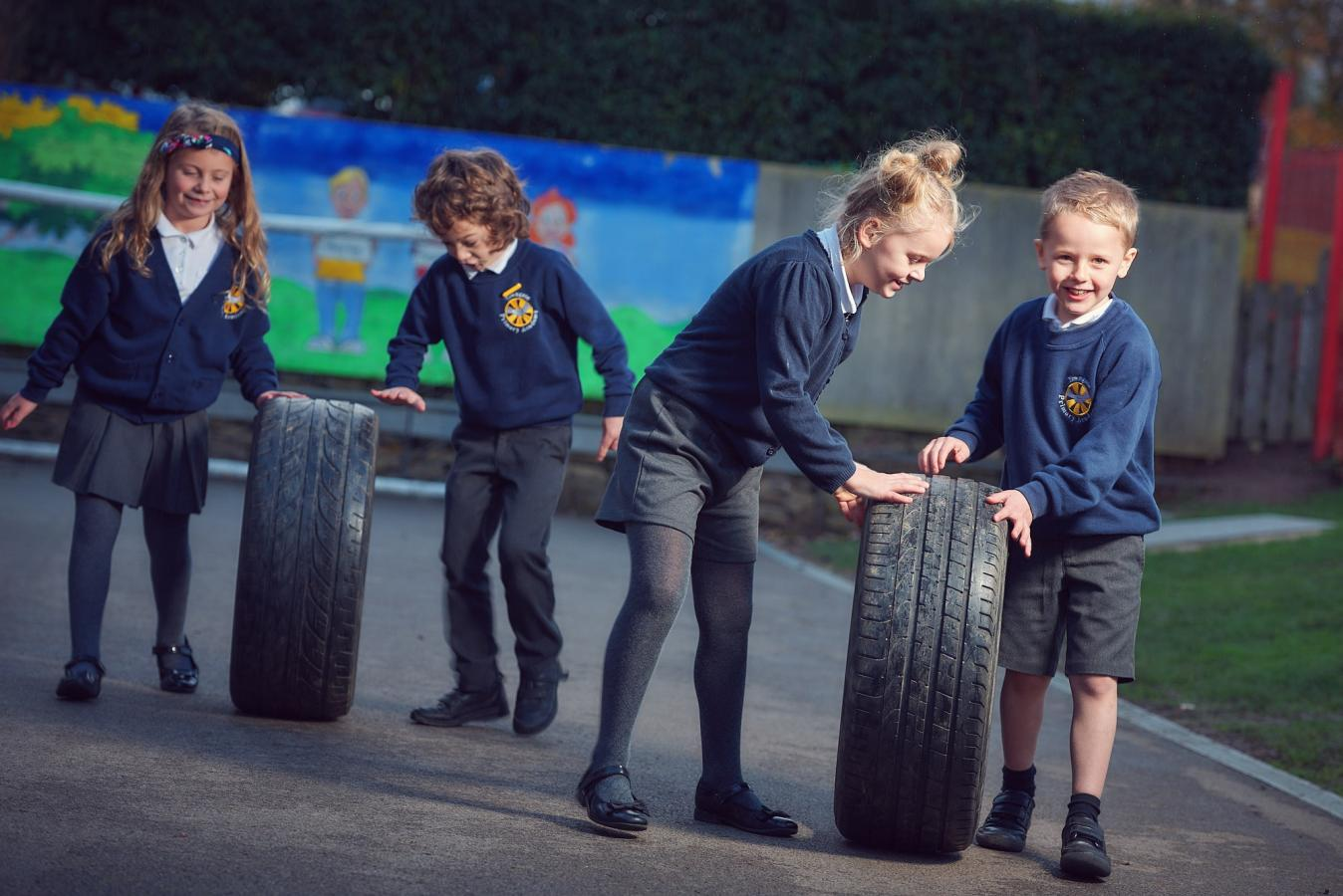 Towngate pupils with car tyres